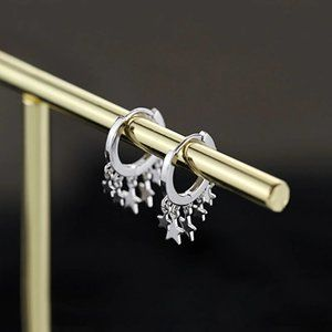 NEW 925 Sterling Silver Star Hoop Earrings